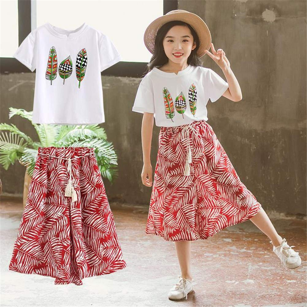 FTSUCQ Girls Floral Leaf Printed Shirt Top + Wide Leg Pants,Red 160 by FTSUCQ (Image #2)