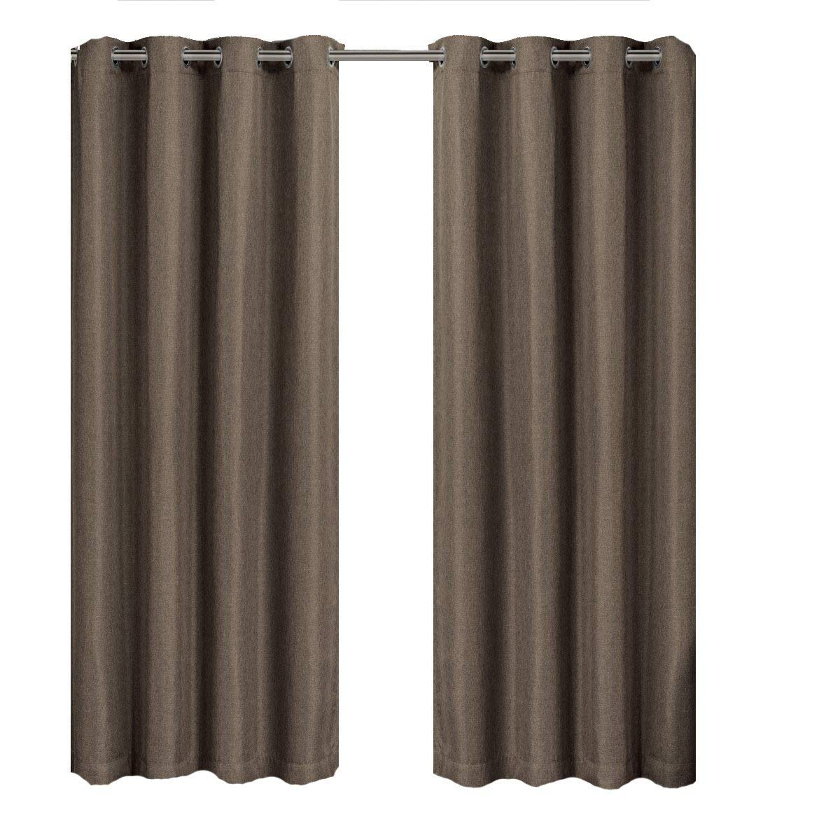 Gulfport Taupe Grommet Faux Linen Blackout Weave Window Curtains Drape, 52x96 inches Single Panel, by Royal Hotel