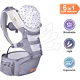 BABLE Baby Carrier with Hip Seat, 6-in-1 Convertible Carrier, 360 Ergonomic Baby Carrier Backpack, COOL MESH for Spring and Summer - for 8-33lbs - Baby Wrap Carrier, Baby Carriers Front and Back