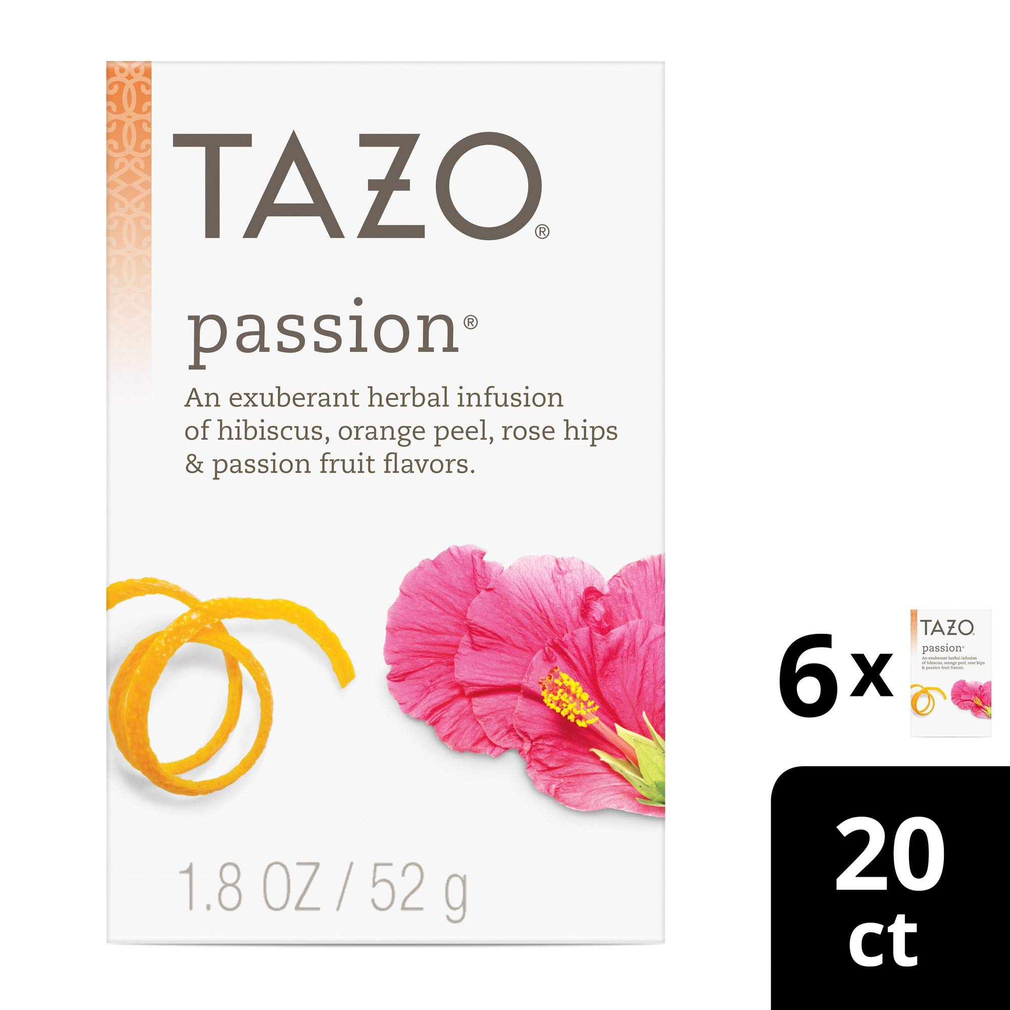 Tazo Passion Herbal Tea Filterbags, 20 Count (Pack of 6) by Tazo