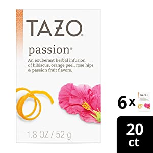 Tazo Herbal Tea Tea Bags For a Refreshing Beverage Passion Caffeine-Free 20 Tea Bags 6 ct