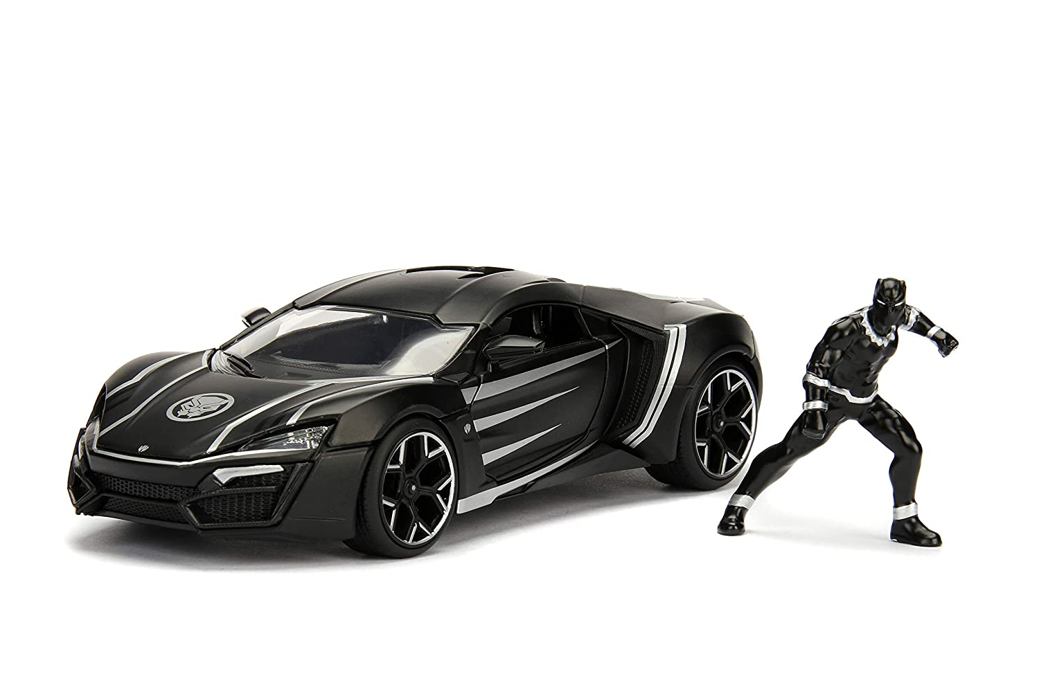 """Amazon.com: Jada Toys Marvel Black Panther & W Motors Lykan Hypersport DIE-CAST Car, 1: 24 Scale Vehicle & 2.75"""" Collectible Metal Figurine: Toys & Games"""