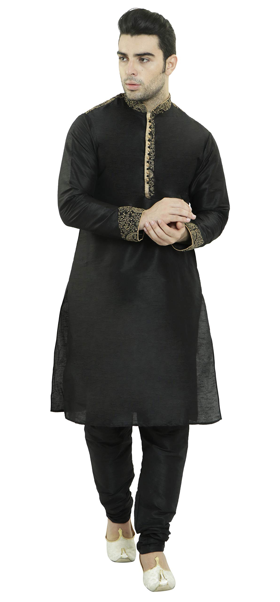 Mens Black Kurta Pajama Long Sleeve Hook & Eye Shirt Indian Clothing Fashion Ethnic Dress -L