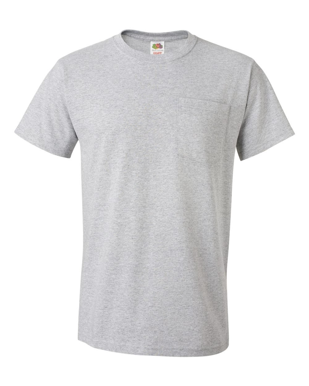 Fruit of the Loom HD Cotton Pocket Tee With Tearaway Label,Athletic Heather,3XL