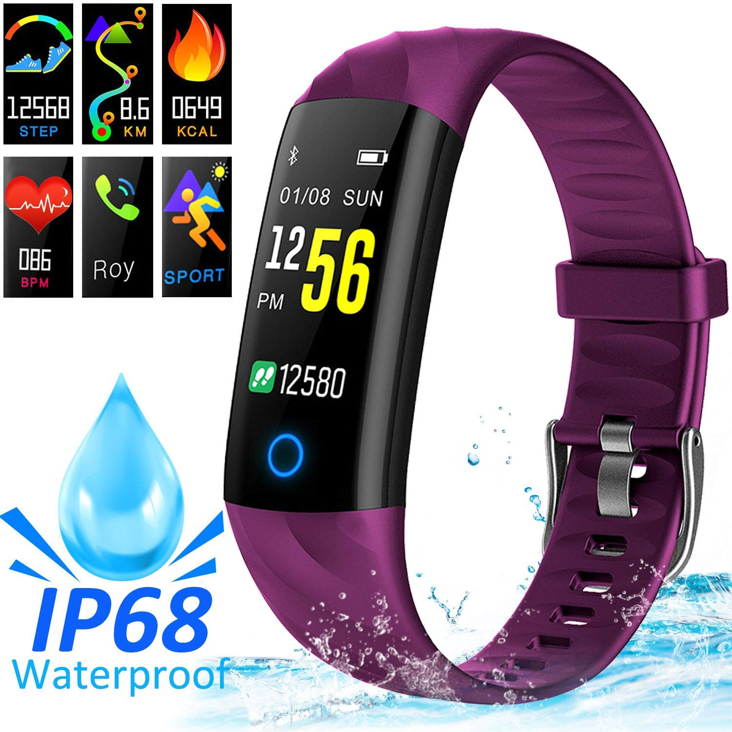 AMENON IP68 Smart Watch Fitness Tracker, rastreador de Actividad Deportiva con Ritmo cardíaco Presión Arterial Sleep Monitor Calorie Podómetro Smart ...