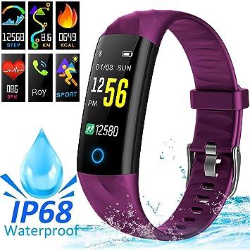 AMENON IP68 Smart Watch Fitness Tracker, rastreador de Actividad Deportiva con Ritmo cardíaco Presión Arterial Sleep Monitor Calorie Podómetro Smart ...