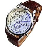 Chianrliu mode en cuir synthétique de luxe homme blue ray verre quartz analogique montre (marron)