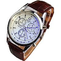 Chianrliu moda di lusso di finta pelle uomo blu ray vetro quarzo analogico orologi marrone