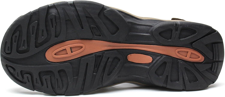 YoCool Mens Fisherman Sandals Leather Closed Toe Casual Beach Water Sandal Brown 1365//SZ-43