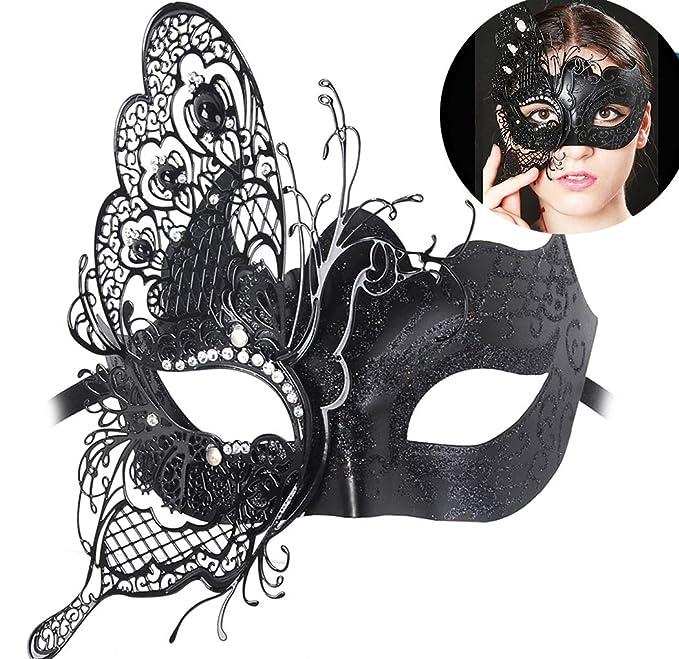 905e51b1929 Masquerade Mask Venetian Butterfly Shiny Metal Mardi Gras Mask Multicolor  (One size