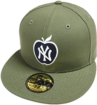 36643fa602 Amazon.com  New Era New York Yankees Big Apple Oliv Green MLB Cap 59fifty  5950 Fitted Basecap Kappe Men Special Limited Edition  Clothing
