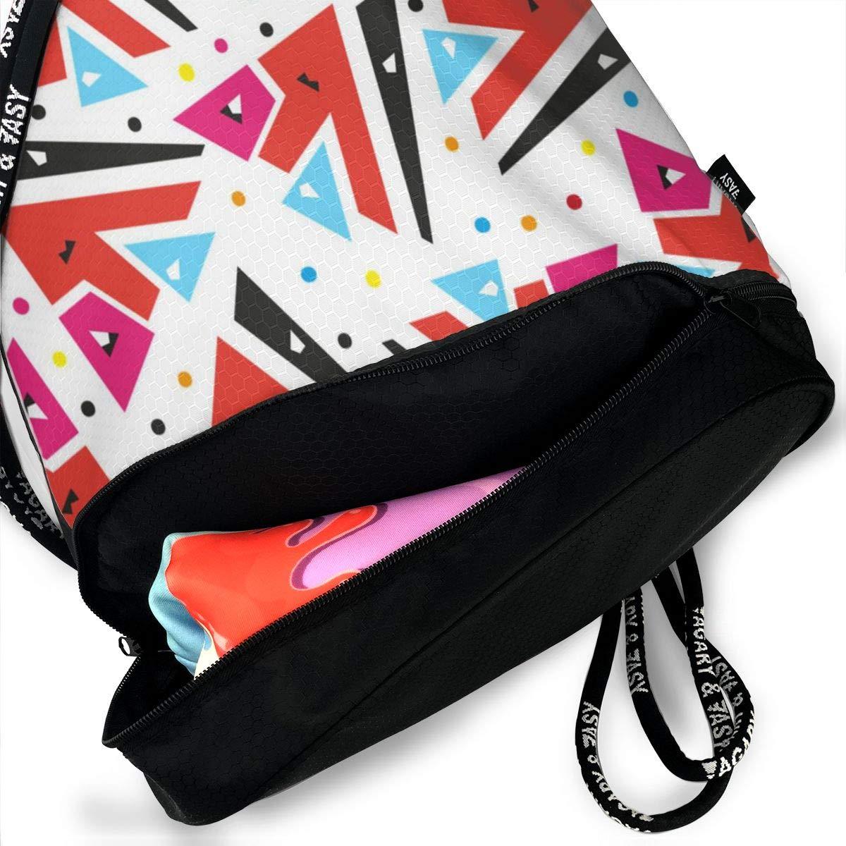Trend Geometric 3D Drawstring Bag Sport Gym Travel Bundle Backpack Pack Beam Mouth Shoulder Bags