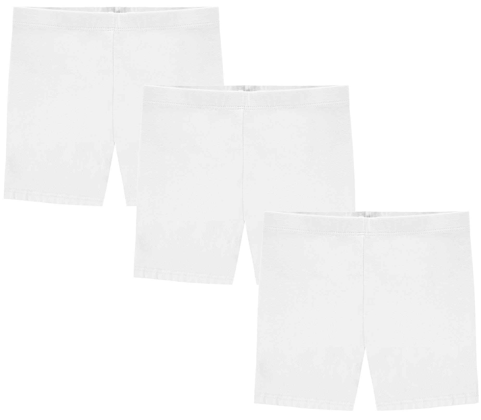My Way Girls' Value Pack Solid Cotton Bike Shorts - All White - 16