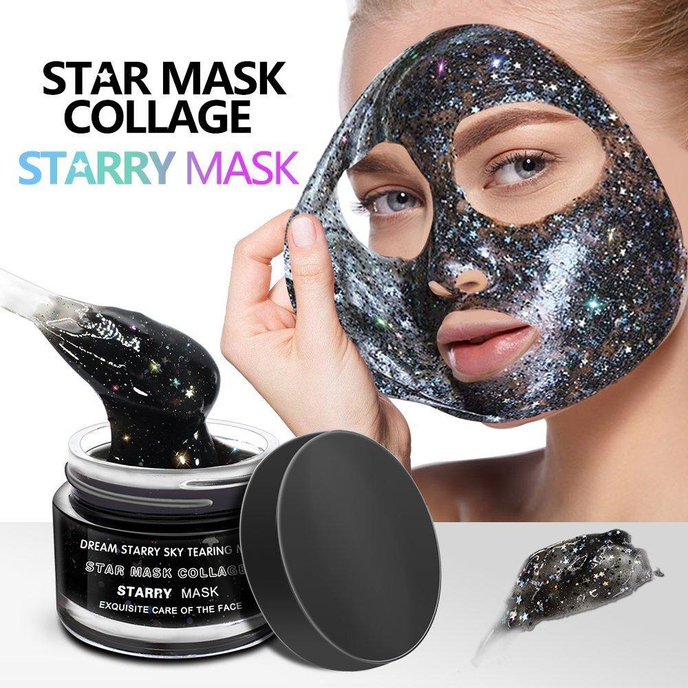 LeSB Masque Étoiles Peel Off Visage Peaux Nettoyage Hydratant Brillant avec Paillettes Étoiles Magique Soins pour la Peau