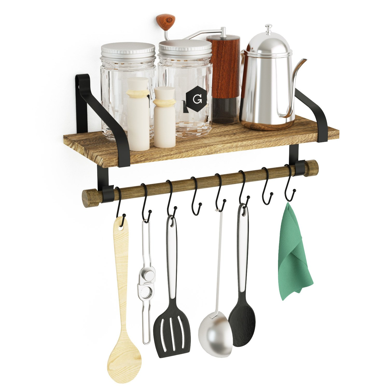 Love-KANKEI Wall Shelf for Kitchen - Rustic Wood Kitchen Spice Rack with Towel Bar and 8 Removable Hooks for Organize Cooking Utensils