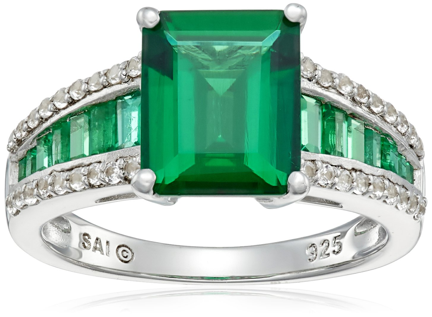 Sterling Silver Created Emerald and Created White Sapphire Octagon Ring, Size 7