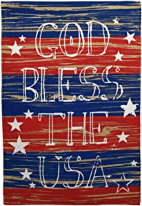 Texupday God Bless The USA Burlap America Patriotic Double Sided Garden Flag Red and Blue Outdoor Yard Flag 12