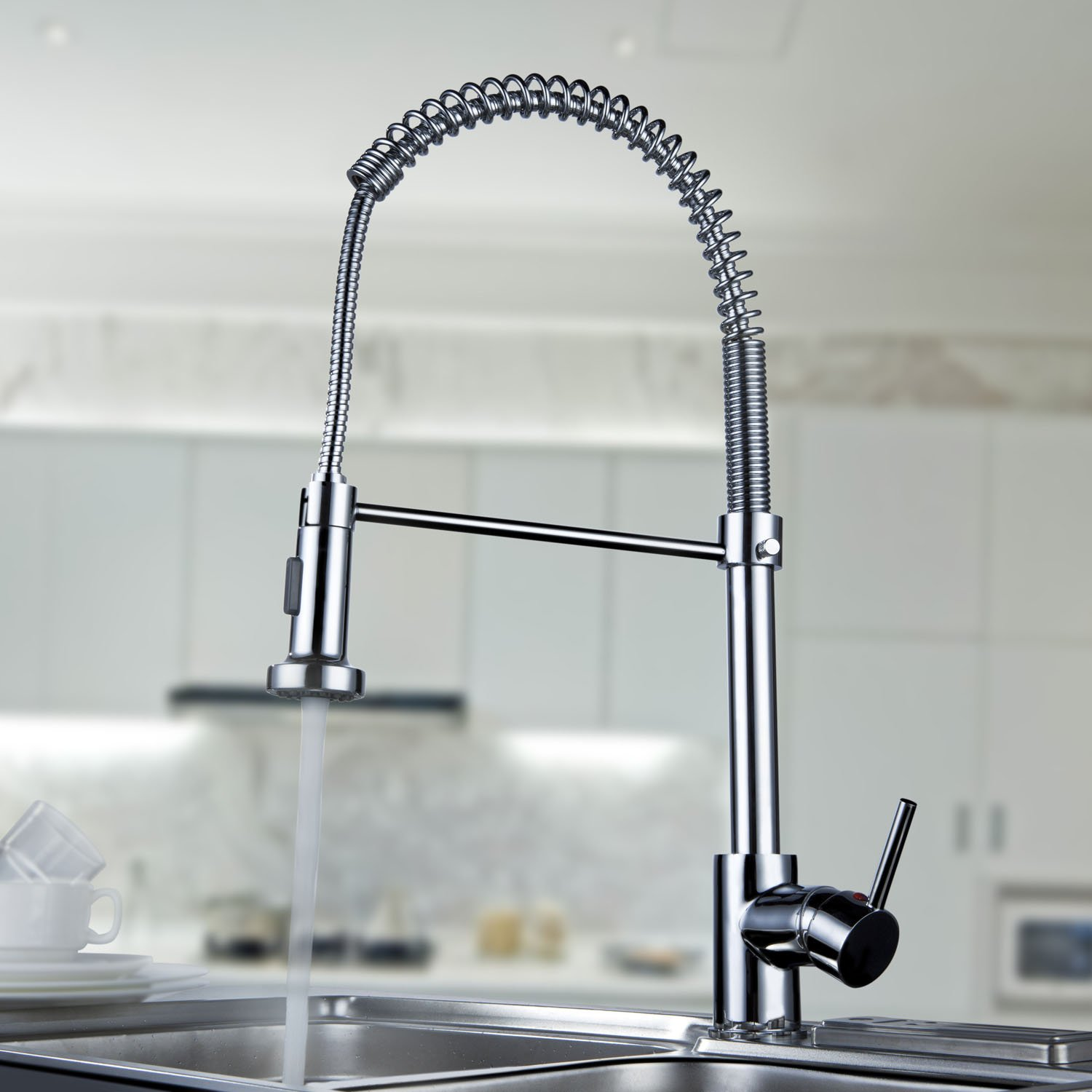 com by kitchen faucets faucet spring steel pull dp coiled stainless style s commercial geyser out amazon