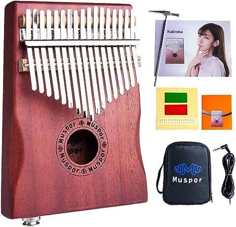 17 Tasten Daumenklavier EQ Kalimba Mahagoni Daumen Thumb Piano Eingebauter