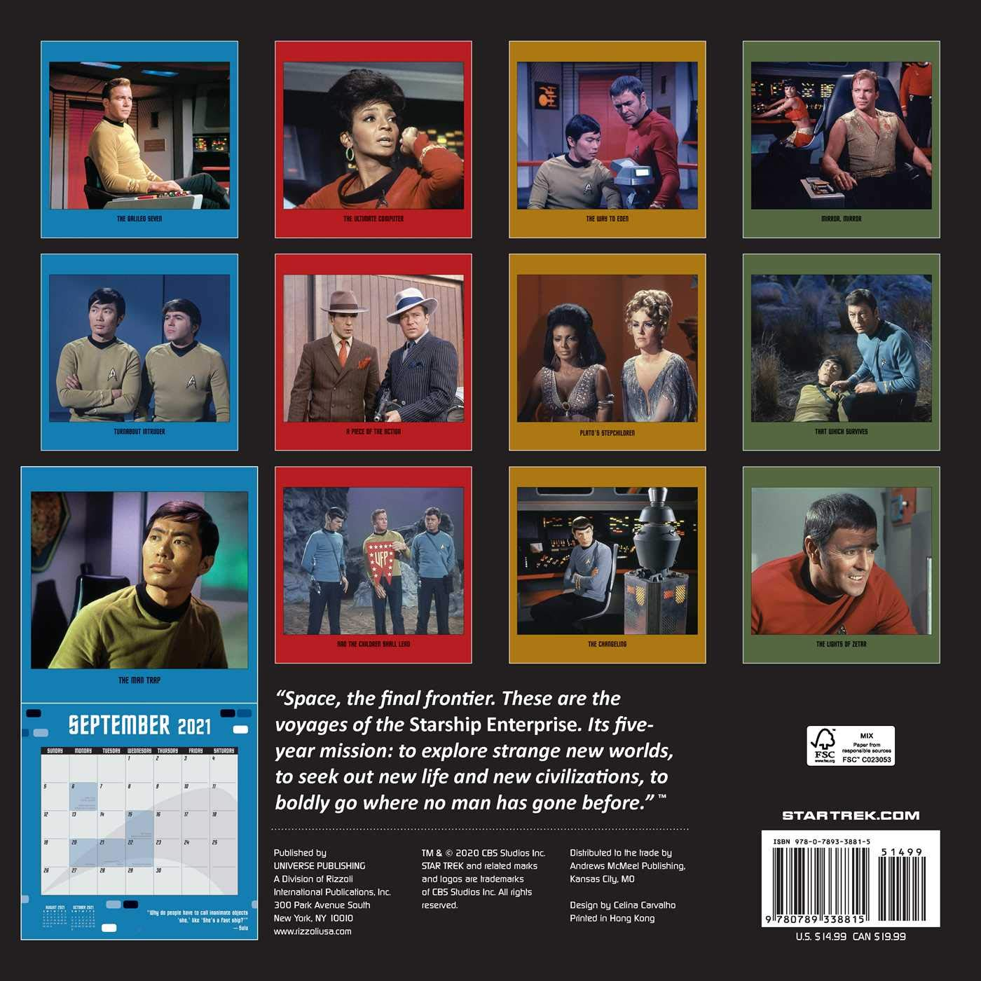 Calendario Star Trek 2021 Star Trek 2021 Wall Calendar: The Original Series: CBS