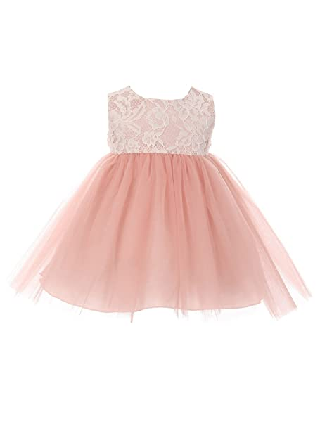 9bcbbf178 Kids Dream Baby Girls Dusty Rose Lace Illusion Tulle Flower Girl Dress 24M