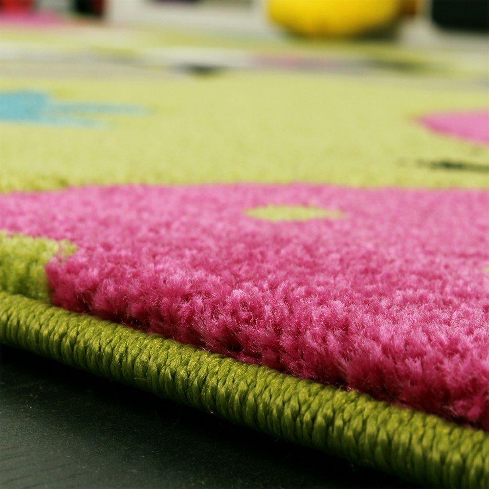 Kinder Teppich Schmetterling Design Grün Creme Creme Creme Rot Pink, Grösse 200x290 cm 34aeaf