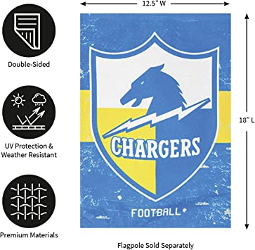 12.5 W x 18 H Outdoor Double Sided D/écor Sign for Football Fans Team Sports America Los Angeles Chargers NFL Vintage Linen Garden Flag