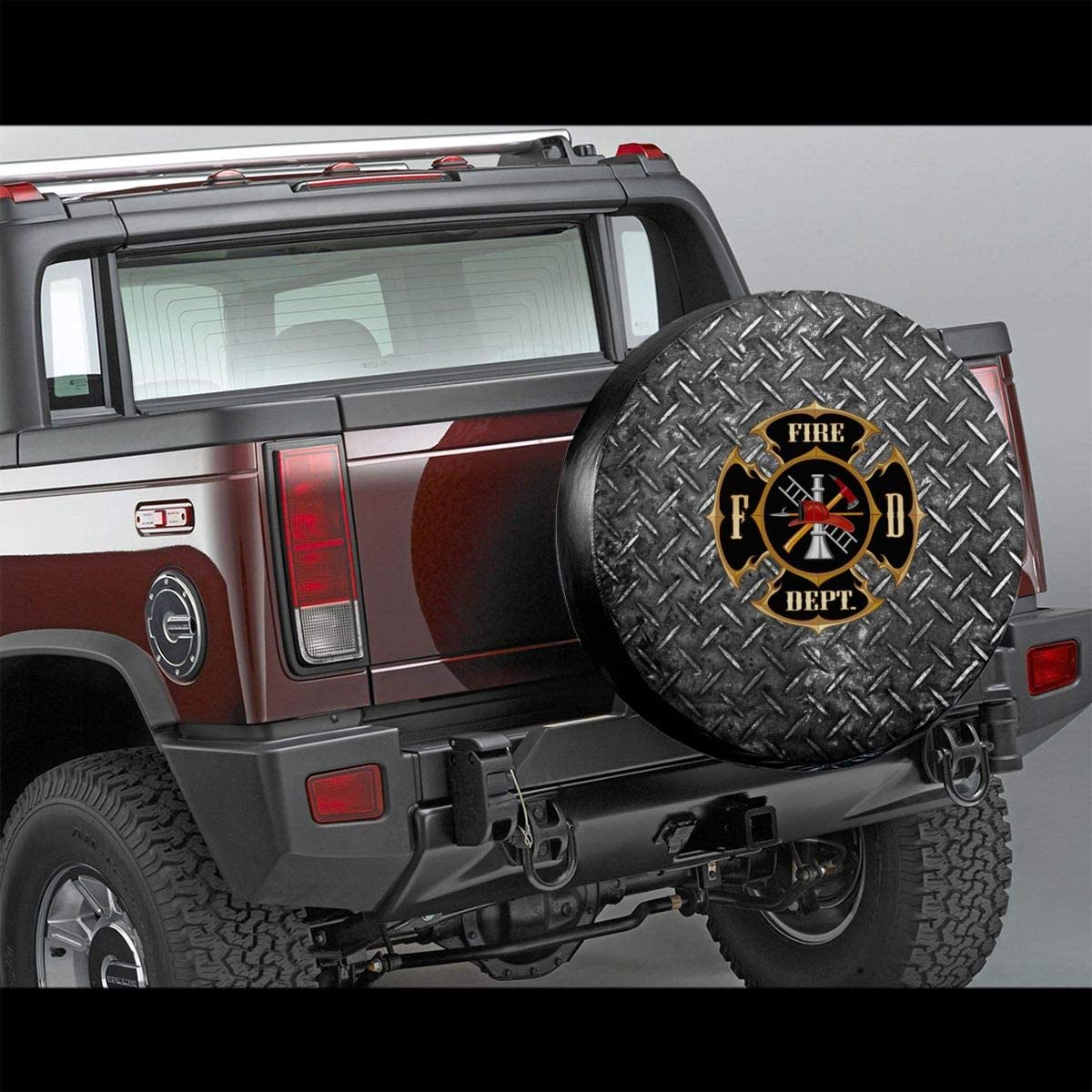 14 15 16 17 Fire Department Logo Firefighter Spare Tire Cover Dust-Proof Waterproof Wheel Covers Sunscreen Corrosion Protection for Trailer RV SUV Truck Camper Travel