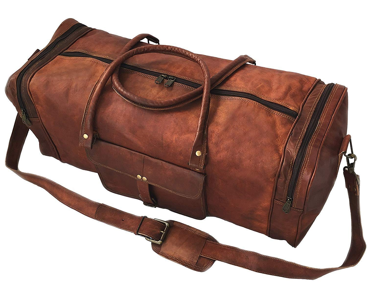 a666c37e0d Amazon.com  24 Inch Square Duffel Travel Gym Sports Overnight Weekend  Leather Bag  Computers   Accessories