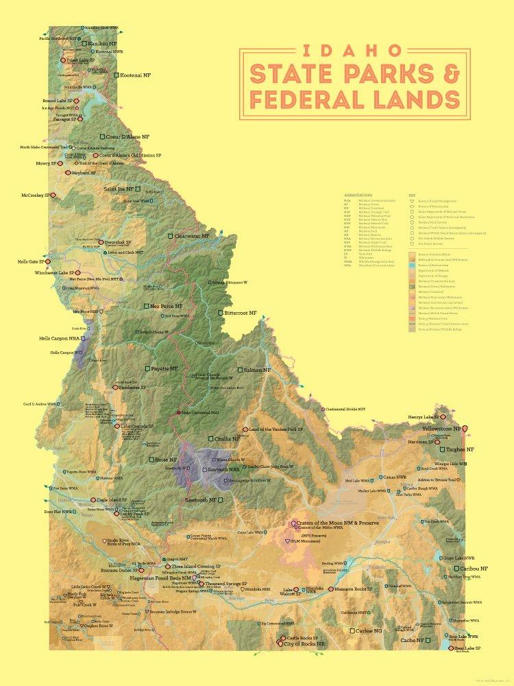 Hagerman Idaho Map.Amazon Com Idaho State Parks Federal Lands Map 18x24 Poster