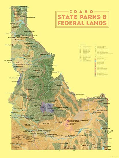 Amazon.com: Idaho State Parks & Federal Lands Map 18x24 Poster ...
