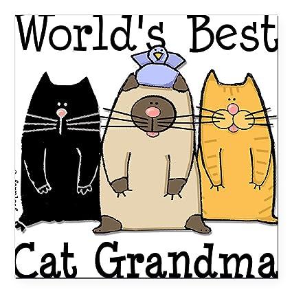5b323d1b55e4 Amazon.com: CafePress - World's Best Cat Grandma Square Car Magnet ...