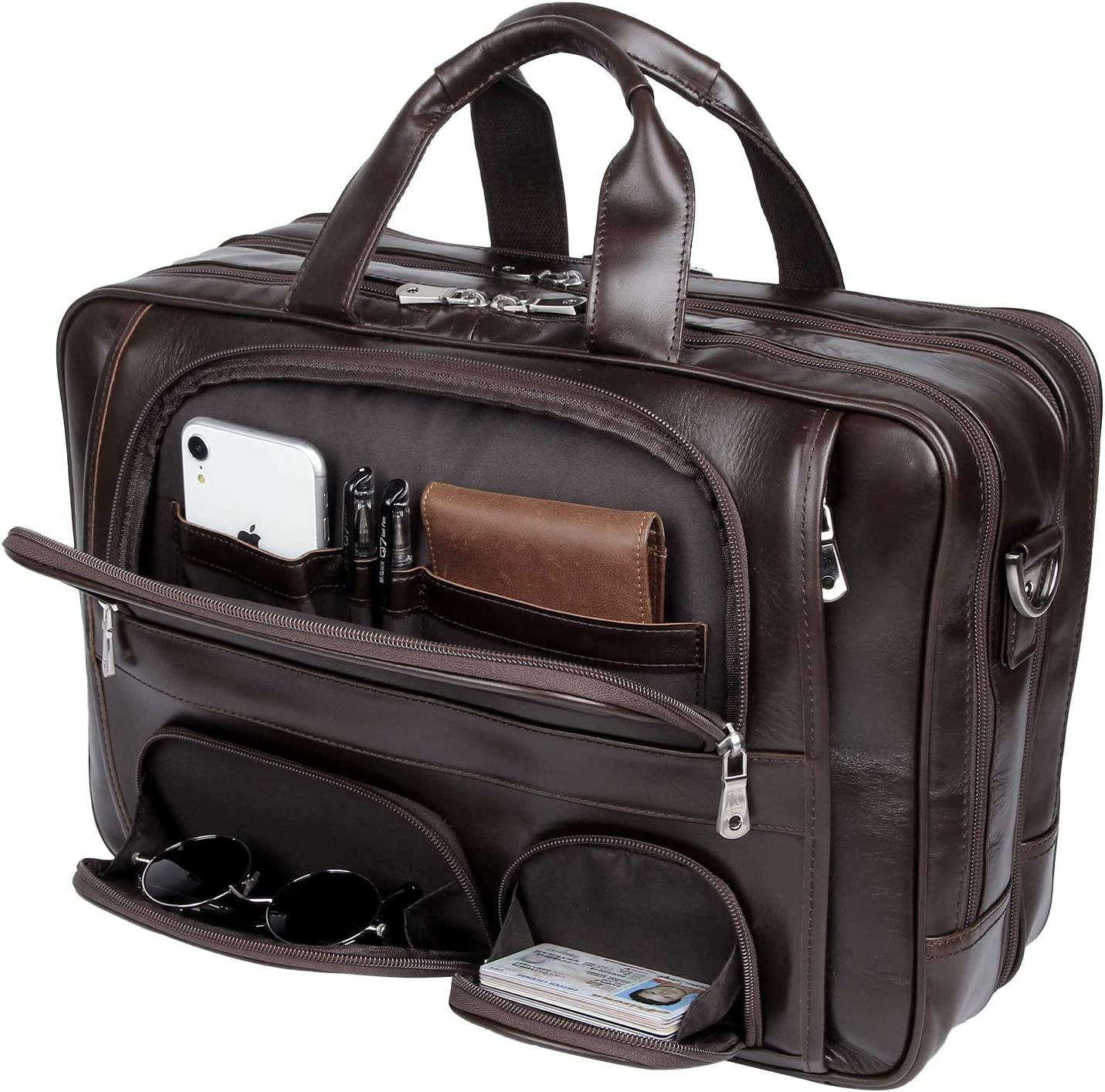 Texbo Napa Leather Briefcase for Men Fits 17'' Laptop Large Business Messenger Bag with YKK Zippers
