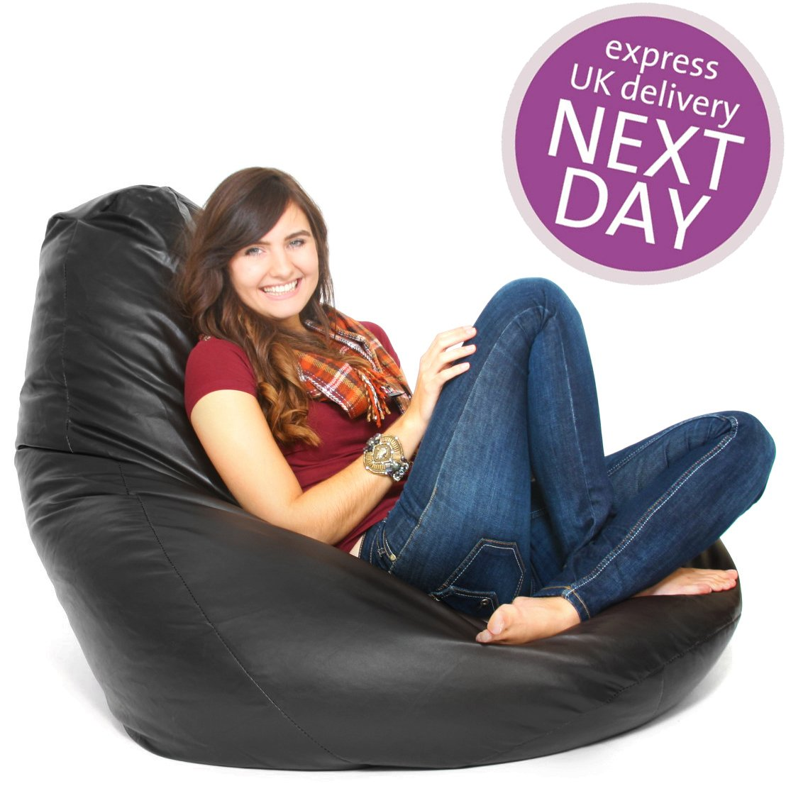 XXL FAUX LEATHER GAMING BLACK BEANBAG