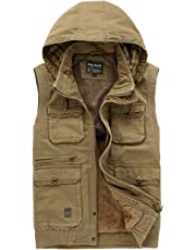 FUNFOA Men's Thick Cotton Military Gilets Vest Outdoor Multi Pockets Sleeveless Hooded Jacket Fishing Hunting Shooting Hiking