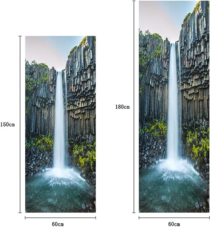 Sticker Cuisine Frigo Nature Chute Deau 70x170cm SAEFR1060 Fond Blanc