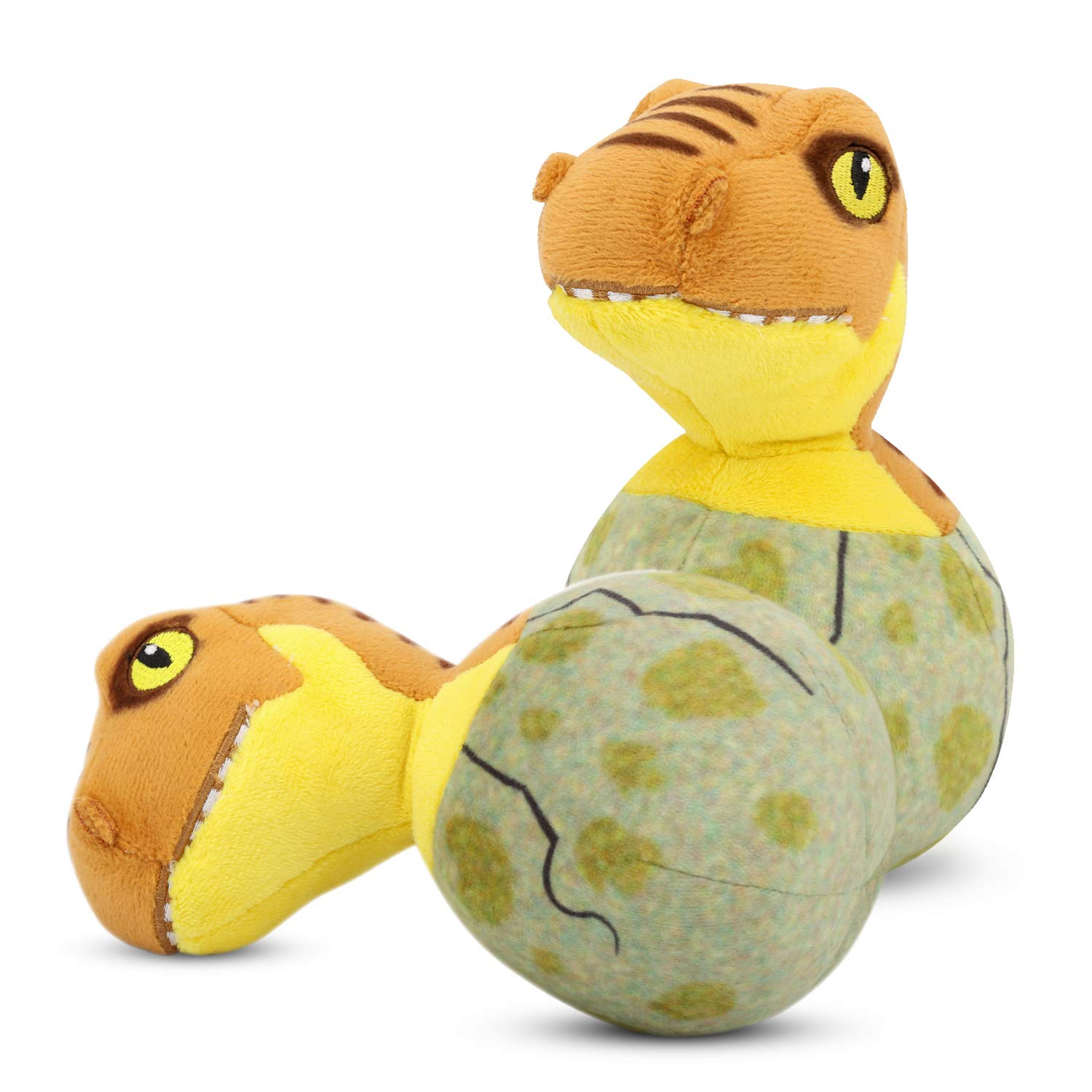 PAWABOO Stuffed Dinosaur Dog Toys, [2PACK] Bed Time Plush Animal Toys Soft Dinosaur for Kids,Puppy Bite Play Chew Toys for Pet, Non-toxic, Brown