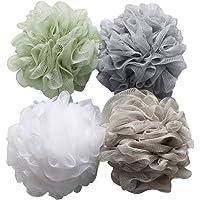 Bath Shower Sponge Loofahs (60g/pcs) Mesh Pouf Shower Ball, Mesh Bath and Shower Sponge Pack of 4
