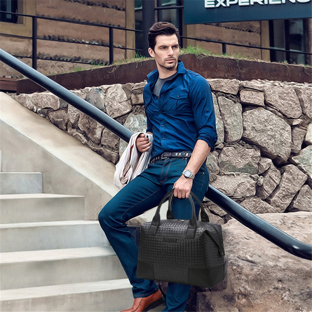 1e086eb7962d Amazon.com: KEISHJD Pu Leather Men Travel Bag Versatile Women Travel ...