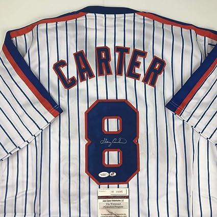 size 40 7b065 09ce2 Autographed/Signed Gary Carter New York Pinstripe Baseball ...