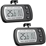 ORIA Digital Refrigerator Thermometer, Mini Freezer Thermometer, Refrigerator Freezer Waterproof, LCD Display, ℃/℉ Switch + Max/Min Record, for Kitchen, Home, Restaurants (2 Pack, Battery Included)