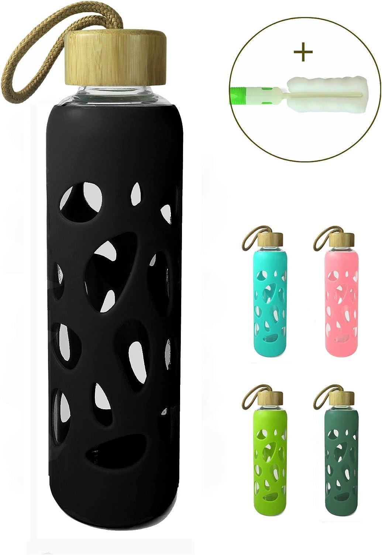 Wenburg Cantimplora Botella de Cristal con Tapa de bambú 550 ml, Cubierta de Silicona. Botella Deportiva/Botella de Agua de Vidrio. para Llevar. para té, Agua, Batidos
