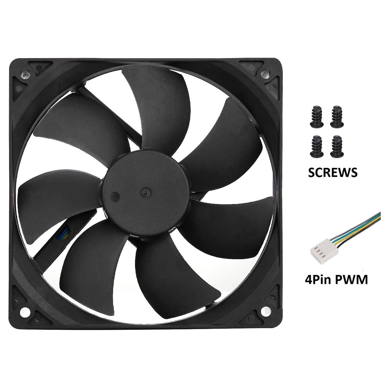 120mm Case Fan 4Pin PWM High Performance 12V DC 120mm PC Computer Case Fan 800-2200RPM 40-75CFM