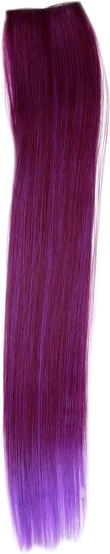 WIG ME UP- Extensión de 2 CLIPS mechón liso 45 cm / 18 inch mezcla de rojo y violeta YZF-P2S18-T2315TT3533