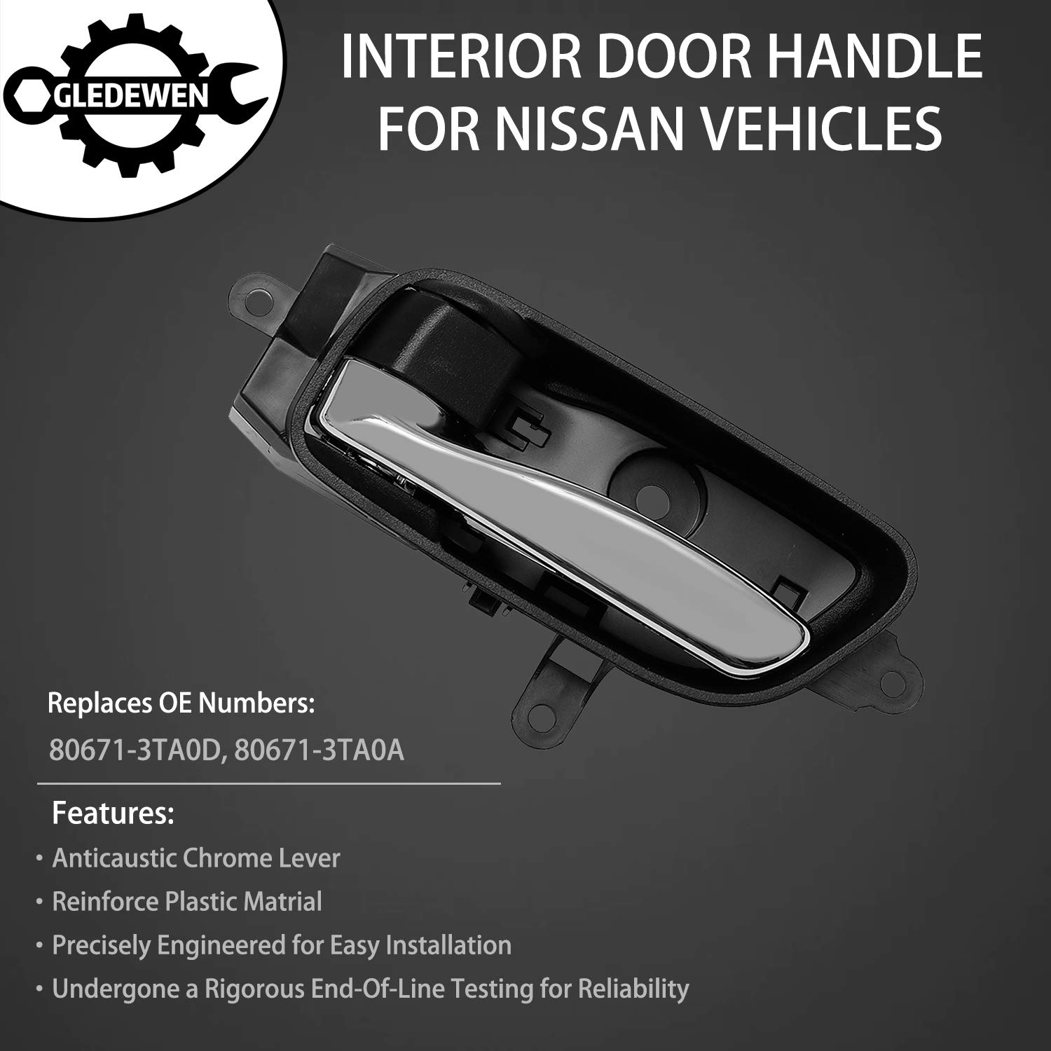2015 2017 Nissan Titan 2015-2017 Nissan Murano Replaces# 80670-3TA0D 2016-2017 Titan XD Interior Door Handle Front Rear Right Passenger Side for 2013-2017 Nissan Altima Pathfinder