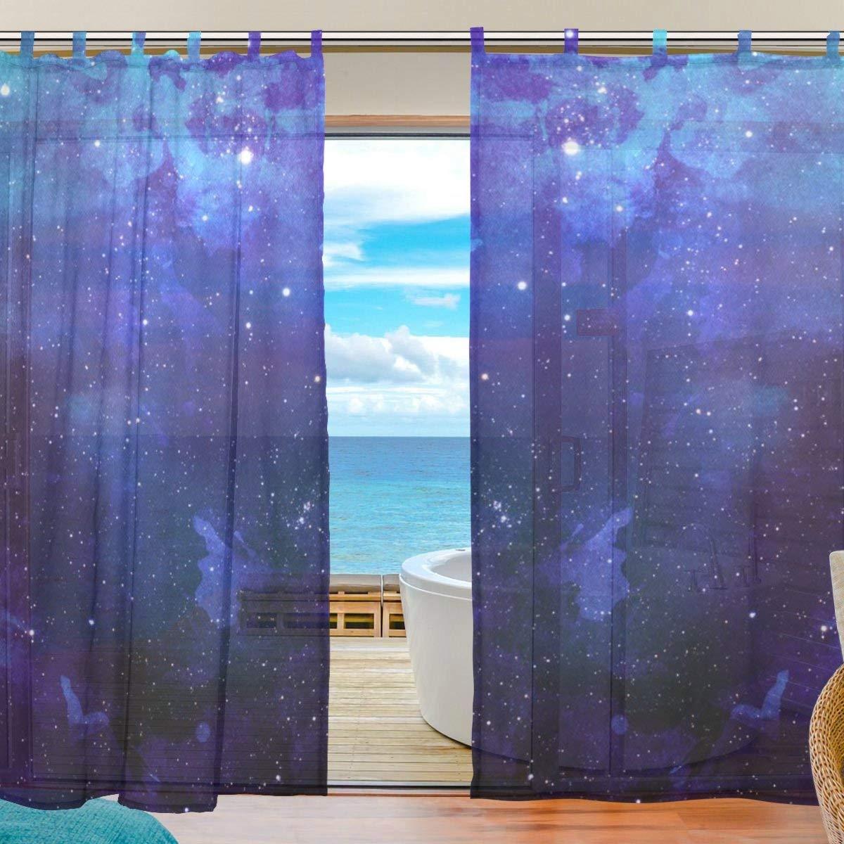 ZOMOY(ユサキ おしゃれ 薄手 柔らかい シェードカーテン紗 ドアカーテン,夢幻 宇宙柄 星空 星,装飾 窓 部屋 玄関 ベッドルーム 客間用 遮光 カーテン (幅:140cm x丈:210cmx2枚組)   B07PG6WRZ7