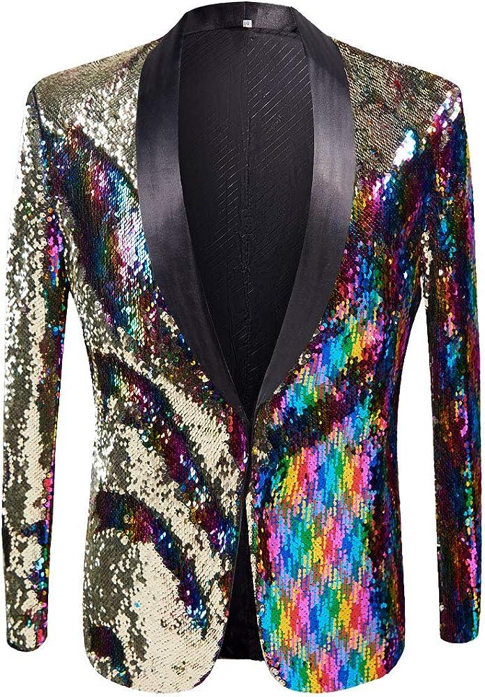 53388d96f2f8 PYJTRL Men Stylish Two Color Conversion Shiny Sequins Blazer Suit Jacket  (Colorful, XS/