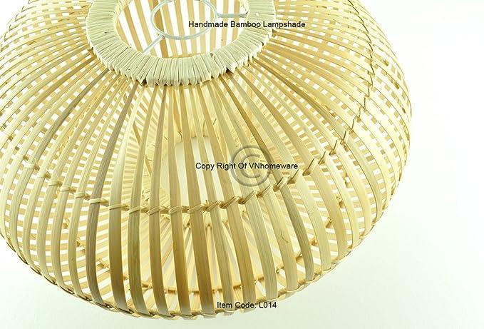 Handmade Bamboo soffitto ciondolo paralume, paralume, Ellipsoid Shape, colore legno marrone naturale, L014