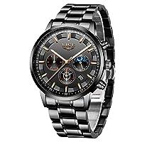 Men's Watches Quartz 30 m Waterproof Casual Chronograph Watches Business Watches Calendar Men Military Black Stainless Steel Wrist Watch Men