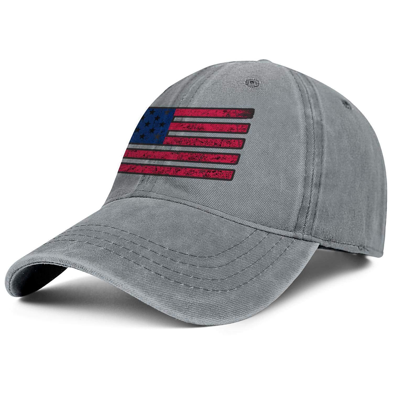 SNEFUEE Mens Women USA Style Grunge American Flag Cap Designed Denim Cowboy Hats Hiking Caps